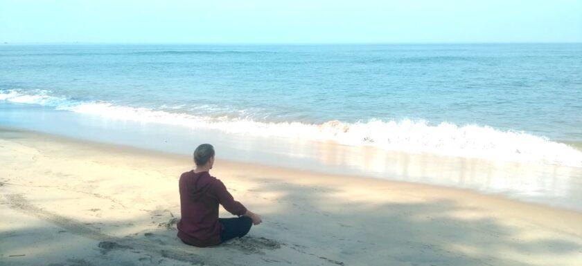 Meditation in Goa beach, India